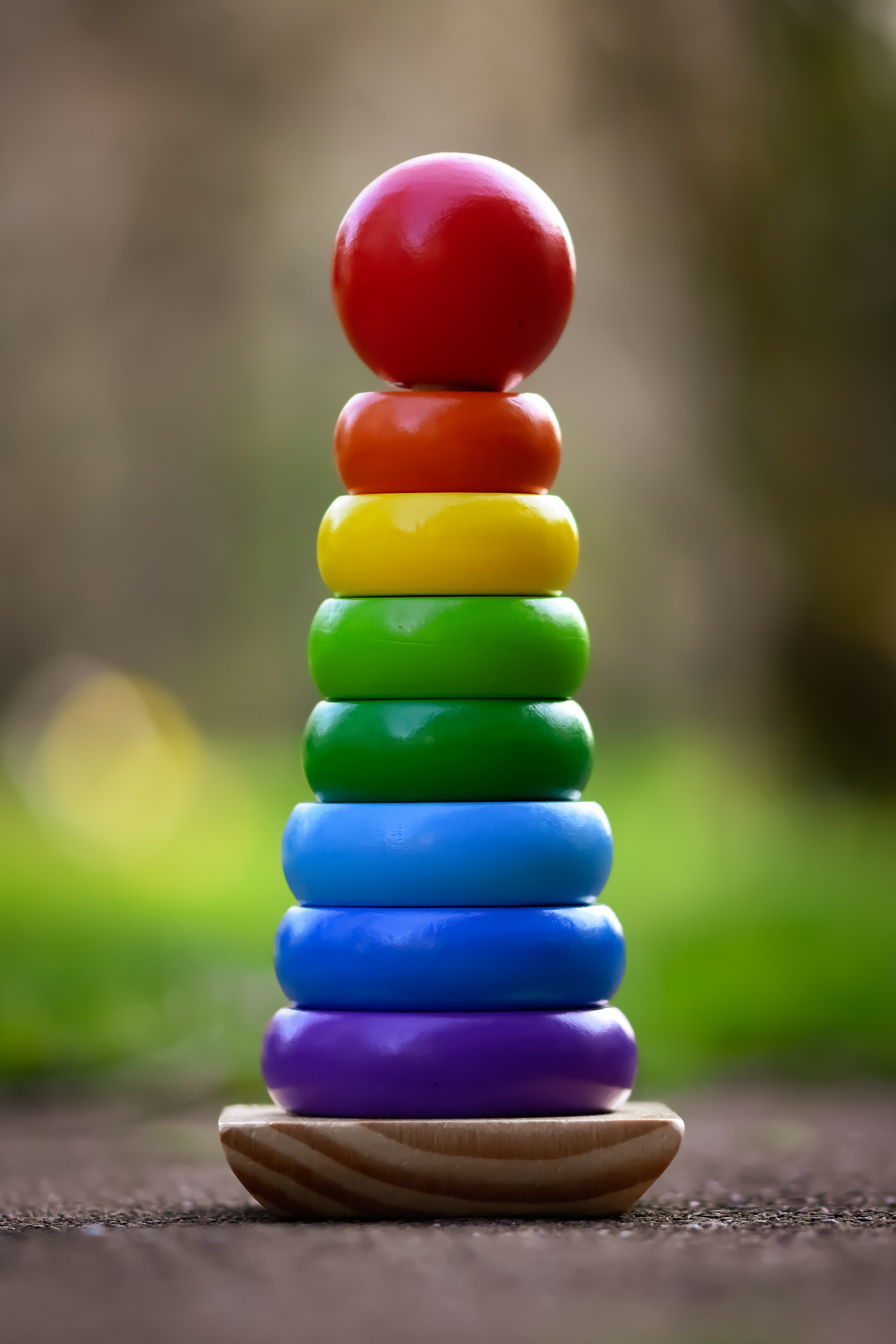 Colorful color palette toys tower pyramid wood stack