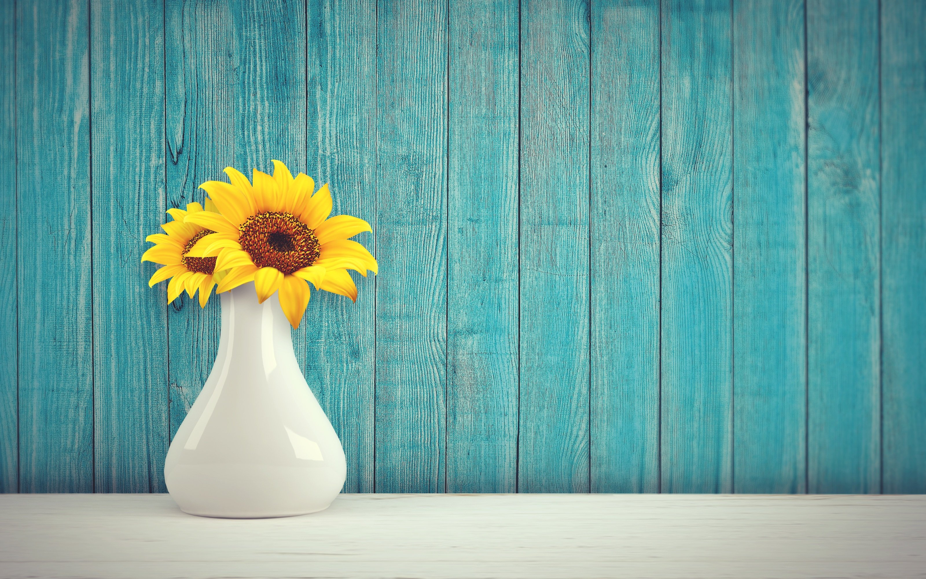 Sunflower vase vintage retro wall